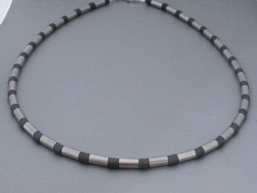 Neue Titanium Titan Halskette Collier Schmuck Hämatit grau Silber Herren Damen 3