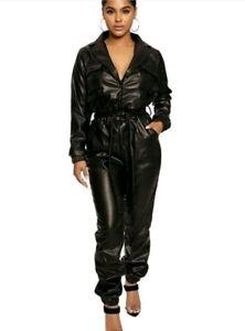 Damen-Overall-Biker-Jumpsuit-Catsuit-Hosenanzug-Kunstleder-Anzug-Lederlook-S-XL