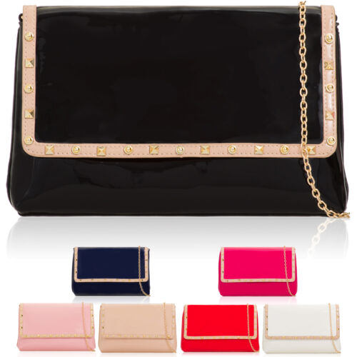 Patent Leather Women/'s Evening Clutch Bag Stud Flap Over Designer Prom Handbags