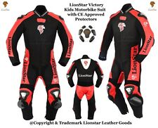 Victory Kids Motorbike Motorcycle Leather / Cardoura Racing Suit with CE Armours