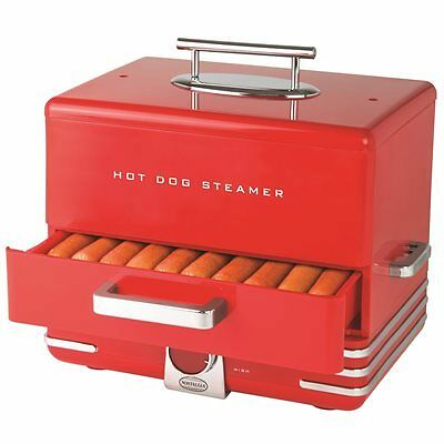 Nostalgia Electrics INNOVA Diner Style Hot Dog Steamer - Red