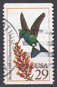 Stati-Uniti-francobollo-timbrato-29c-Broad-billed-Hummingbird-uccelli-timbro-rotondo-1342