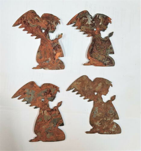"""Lot of 4 Praying Angel Shapes 3/"""" Rusty Metal Vintage Craft Sign Holiday Ornament"""