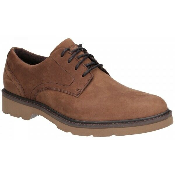 Rockport CHARLEE Mens Casual Eyelet Lace Up Waterproof Leather Derby schuhe Tawny