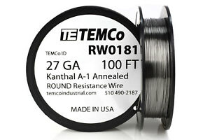 TEMCo Kanthal A1 wire 27 Gauge 100 Ft Resistance AWG A-1 ga | eBay