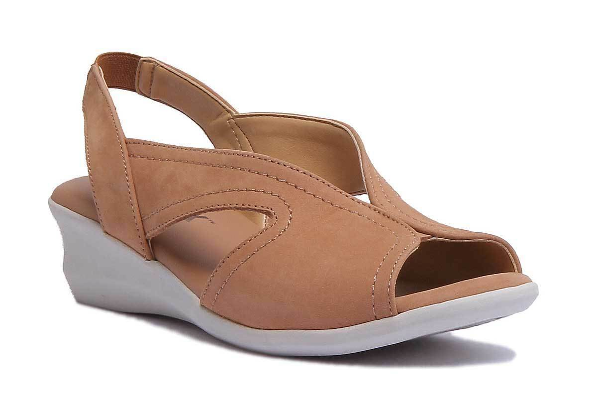The Flexx Charlee Sandali con zeppa Open Toe in pelle opaca color cognac