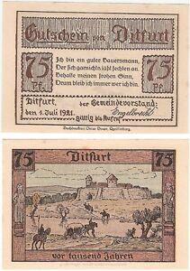 Germany 75 Pfennig 1921 Notgeld Ditfurt AUUNC Banknote - Glasgow, United Kingdom - Germany 75 Pfennig 1921 Notgeld Ditfurt AUUNC Banknote - Glasgow, United Kingdom