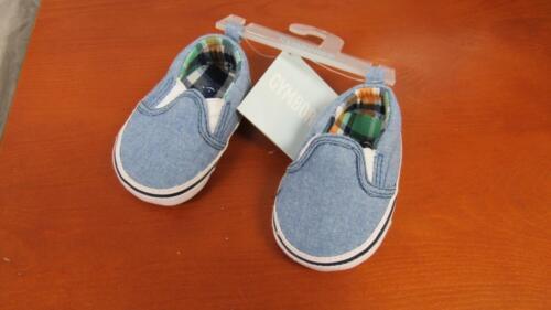 GYMBOREE Little Skunk Baby Boy Crib Shoes Light Blue w//Plaid Size 1 2 NEW