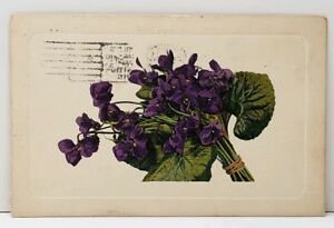 Bouquet-of-Purple-Pansies-1912-to-Redwood-Grove-California-Postcard-A17