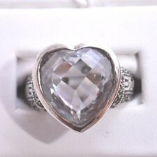 BIG & BOLD CLEAR C.Z. MARCASITE HEART RING Sterling Silver.925 Stamped Size 7