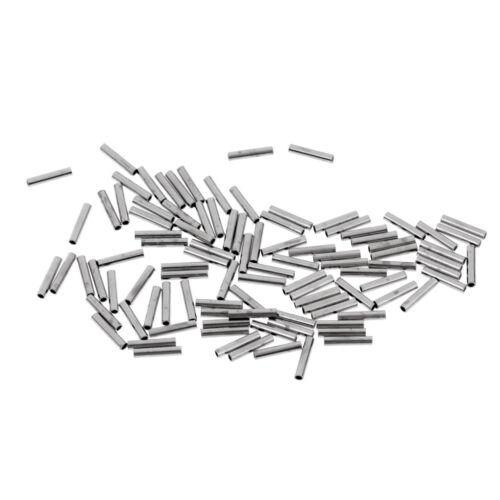 100 Pieces Single Copper Crimp Sleeves Round Aluminum Fishing Tubes Rigs