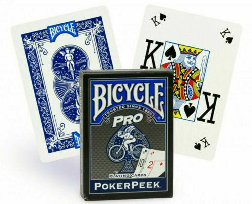New Sealed Deck Bicycle Poker Peek Pro Blue Playing Cards USPCC