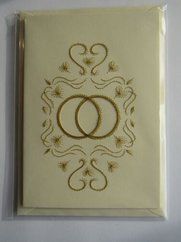 HANDMADE STITCHED WEDDING CARD GOLD RINGS WITH HEARTS