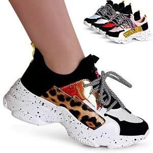 Damas-plataforma-cortos-con-cuna-Chunky-zapatillas-zapato-bajo-Leo
