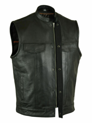 Mens Classic Motorcycle Cowhide Leather Biker Vest Concealed Carry Durable Vest