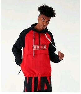 Details about NIKE AIR WOVEN ANORAK JACKET REDBLACK MEN'S SZ XSMALL NEW BV5163 657