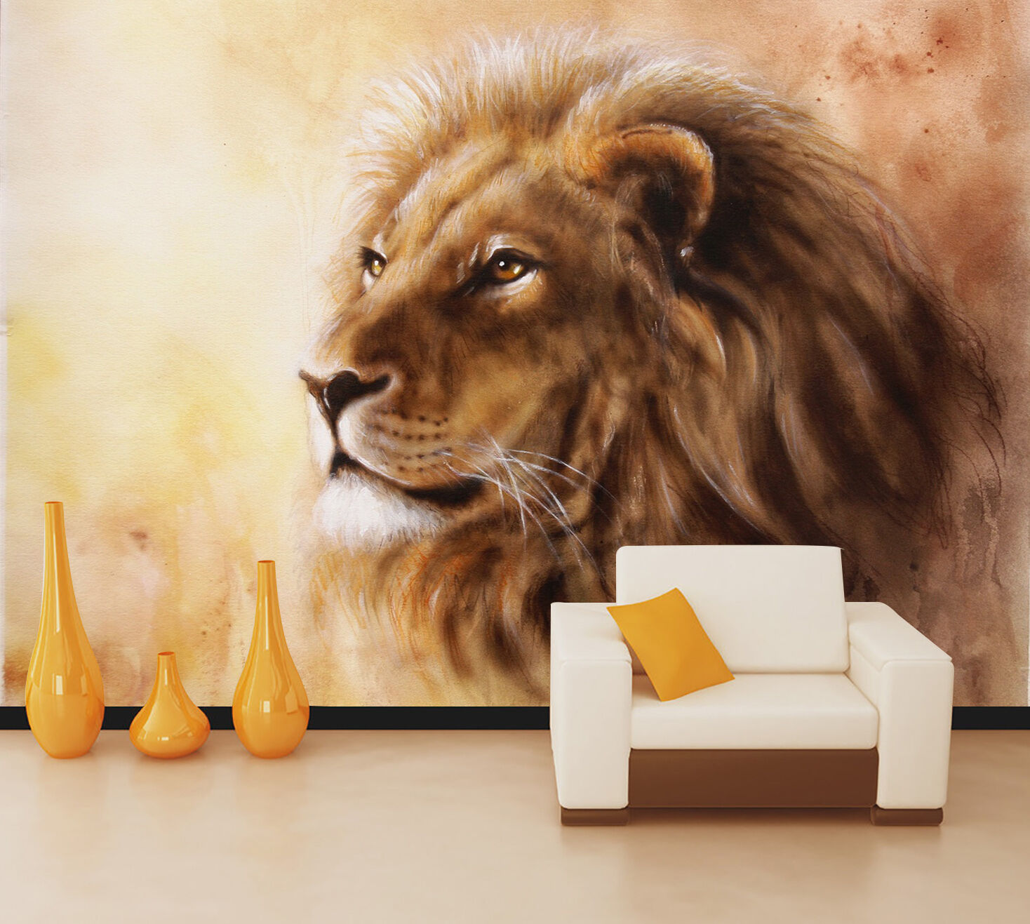 3D Lion gold 2312 Wall Paper Wall Print Decal Wall Deco Indoor Wall Murals