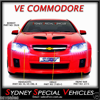 VE COMMODORE SERIES 1 LED DRL PROJECTOR HEADLIGHTS IN BLACK - SS SSV SV6 OMEGA