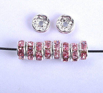 100Pcs CZECH CRYSTAL Rhinestone SILVER Rondelle Spacer BEADS 6MM 7MM 8MM 10MM