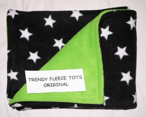 baby BLANKET car crib moses BLACK WHITE STARS /& LIME fleece reversible fleece