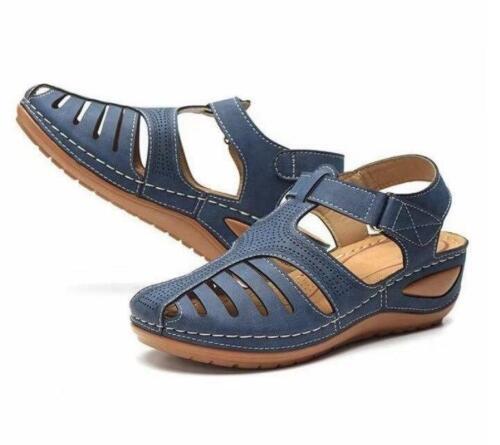Sandalias De Cuero Moda Para Mujer Zapatos Planas Gladiador Verano Casual Playa