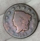 """1824/2 Large Cent 1¢ Matron Head Old Worn U.S. Copper Coin # 31 """" NO RESERVE """""""