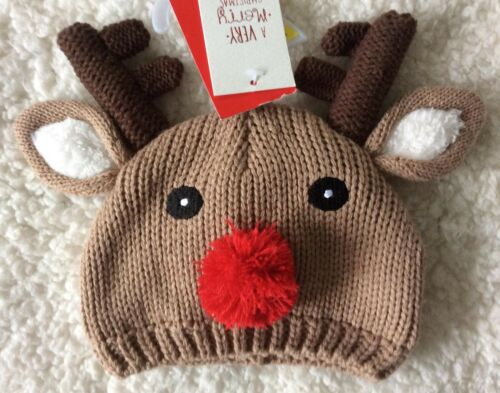 Cute Baby Christmas Photo Shoot Prop ~ Knit//Crochet Rudolf Bobble Hat Boy//Girl