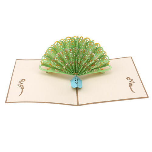 3D Peacock Laser Cut Pop-Up Greeting Cards Postcards  Birthday Weeding Envelope