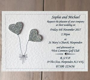 10 Handmade Personalised Wedding Invitations Day Evening Invites
