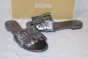 a3ae555b922c New  110 Michael Kors Bella Slide Metallic Leather Gunmetal Slide ...