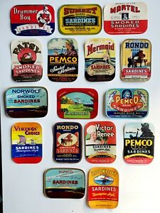32 Vintage Old Sardine Can Labels, 16 Different, 1930's-40's, Pembroke Maine