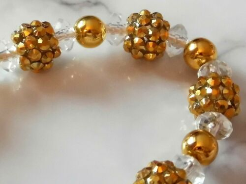 BeautifulGorgeous Gold Shamballa Romany Crystal Bling Baby dummy clip chain