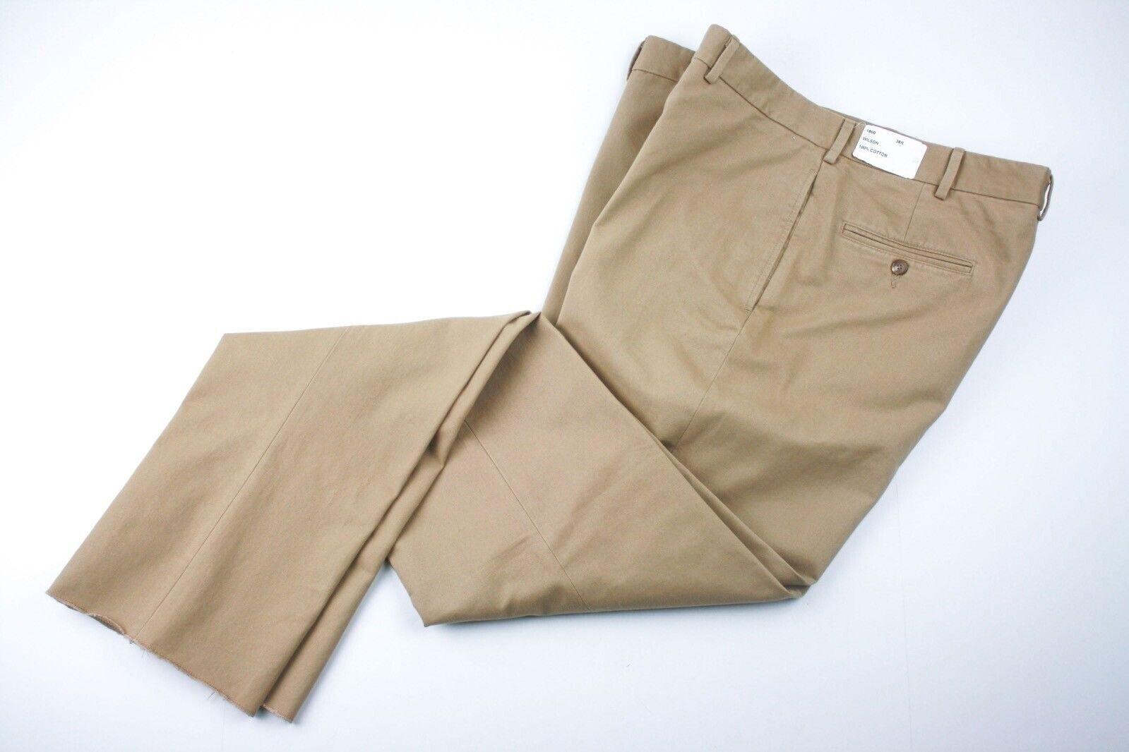 "NWT Epaulet NY Style 1800 WILSON Tan 100% Cotton Mens Khakis 38"" USA"