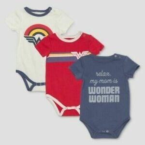 Junk-Food-Infant-Wonder-Woman-12-Month-Bodysuit-3pk-Multicolor-New-in-Box
