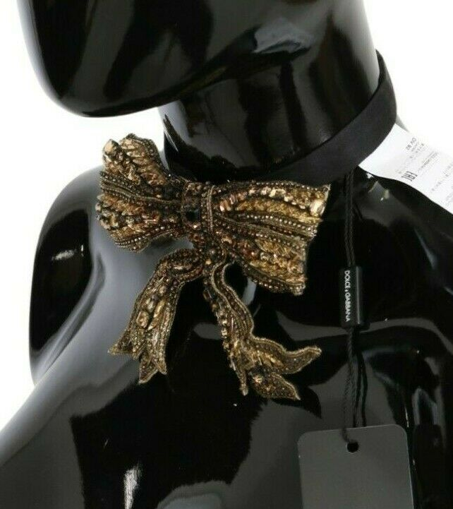 DOLCE & GABBANA Bowtie Gold Crystal Beaded Sequined 100% Silk Catwalk Necklace