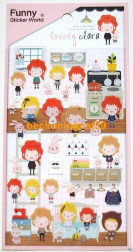 Lovely Cute FUNNY Vinyl STICKER WORLD Girl Bunny Rabbit Clothes Dish Home JAPAN