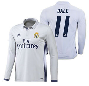 new arrival ef236 f3d10 Details about ADIDAS GARETH BALE REAL MADRID LONG SLEEVE HOME JERSEY 2016/17