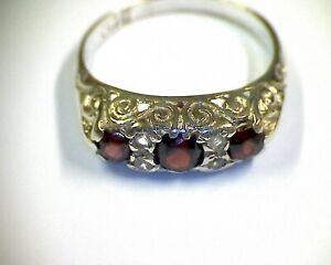 Sterling-Silver-Ring-Garnet-Gemstone-with-Accents-Ring-Size-039-O-039