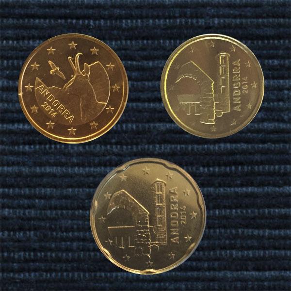 ANDORRA 3 MÜNZEN 5,10,20 EURO CENT KURSMÜNZEN COIN COINS 0,35 € UNC.- BU ST 2014