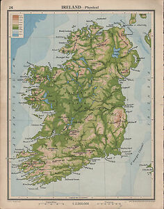 Plain Map Of Ireland.1939 Map Ireland Physical Land Heights Central Plain Golden Vale