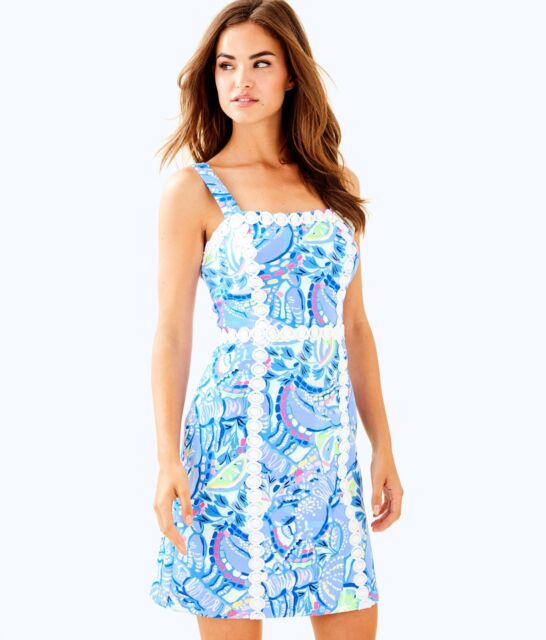 1d674fcc05 NWT Lilly Pulitzer Janelle Shift Dress In Blue Peri Pinch Pinch Size 6