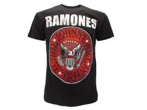 T-Shirt-Originale-Ramones-Ufficiale-Maglia-Maglietta-Logo-sfondo-Rosso-Nuova