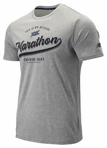 New-Balance-Men-039-s-2019-NYC-Marathon-Heathertech-Graphic-Tee-Grey
