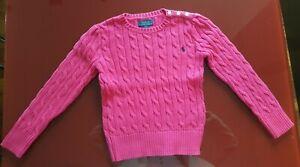 check-out 0bce8 7a677 Dettagli su Maglioncino Ralph Lauren a trecce fucsia da bambina taglia 5  anni