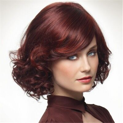 Women Fashion Short Curly Wine Red Hair Wigs