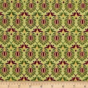 Tis-The-Season-Damask-Green-Christmas-100-cotton-fabric-by-the-yard
