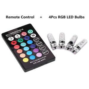 4-un-T10-W5W-5050-Control-Remoto-Coche-LED-RGB-6Smd-Multicolor-Lado-Bombillas-HQ