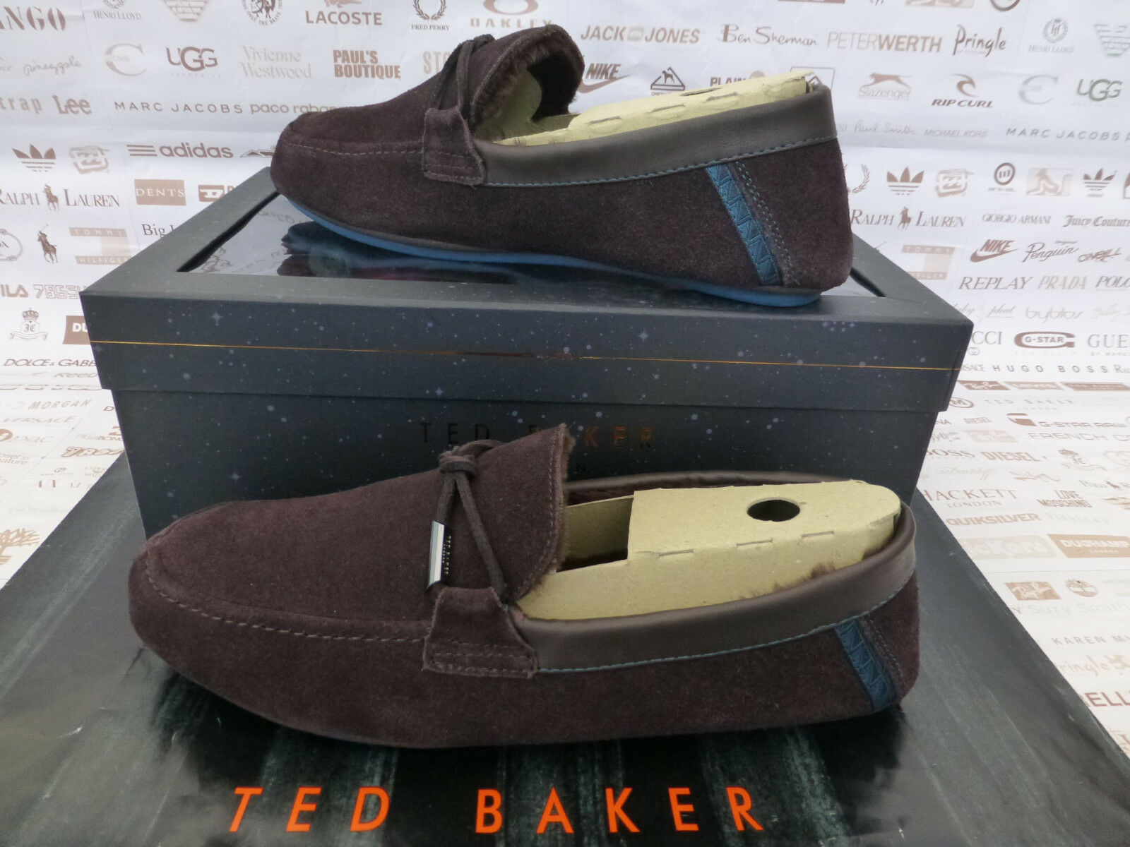 TED BAKER in pelle scamosciata Pantofola Da Uomo valcent accogliente Slip-On Pantofole Marrone Box RP | Affidabile Reputazione  | Sig/Sig Ra Scarpa