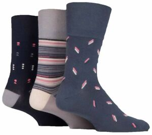 6 Pairs Mens Taupe Navy Grey Patterned Cotton Gentle Grip Socks, Size 6-11