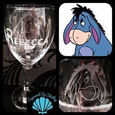 Personalised Disney Eeyore, Pooh Wine Glass Handmade & Free Name Engraving!